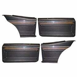 DOOR PANEL SET, BLACK, 70-72 NOVA (ASSEMBLED 4-PIECE SET) COUPE - CUSTOM INTERIOR - 4012-451-702AS